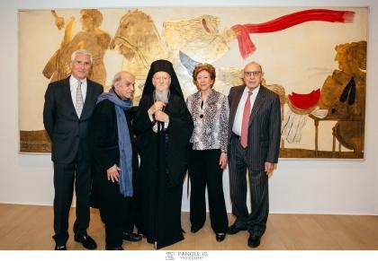 Η Αυτού Θεοτάτη Παναγιότητα, ο Οικουμενικός Πατριάρχης κ.κ. Βαρθολομαίος επισκέφθηκε την έκθεση «Αλέκος Φασιανός • Βαγγέλης Χρόνης. 30 χρόνια φιλίας. Ζωγραφική και ποίηση.», ΙΔΡΥΜΑ Β.&Μ. ΘΕΟΧΑΡΑΚΗ